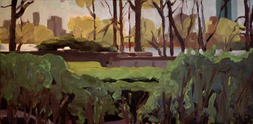 Plein Air oil painting of Charles River from MIT